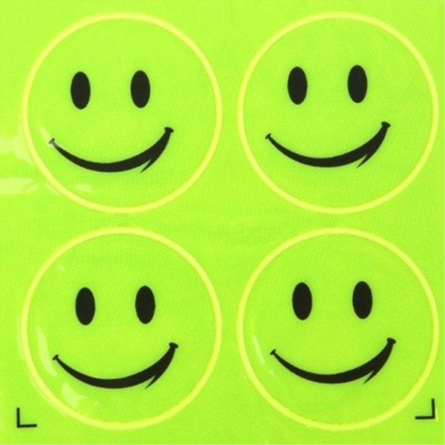 1 Sheet Funny Smiling Face Bicycle Bike Reflective Sticker  Night Riding Safety Sticker Decoration Bicycle Access 4