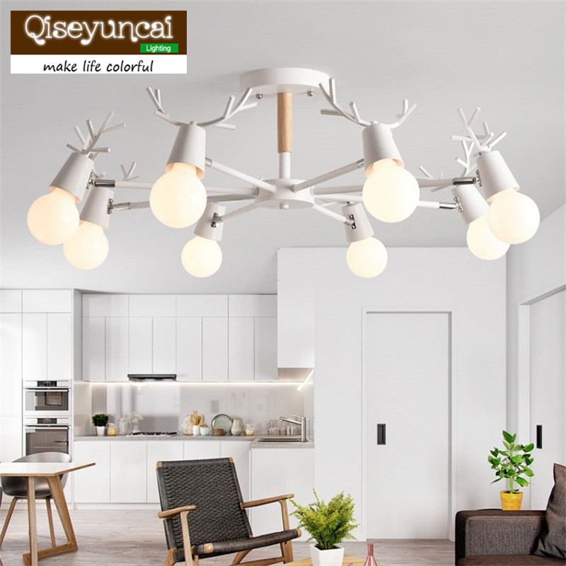 Nordic style living room hall lamp modern minimalist solid wood bedroom ceiling lamp LED home iron antler lampsNordic style living room hall lamp modern minimalist solid wood bedroom ceiling lamp LED home iron antler lamps