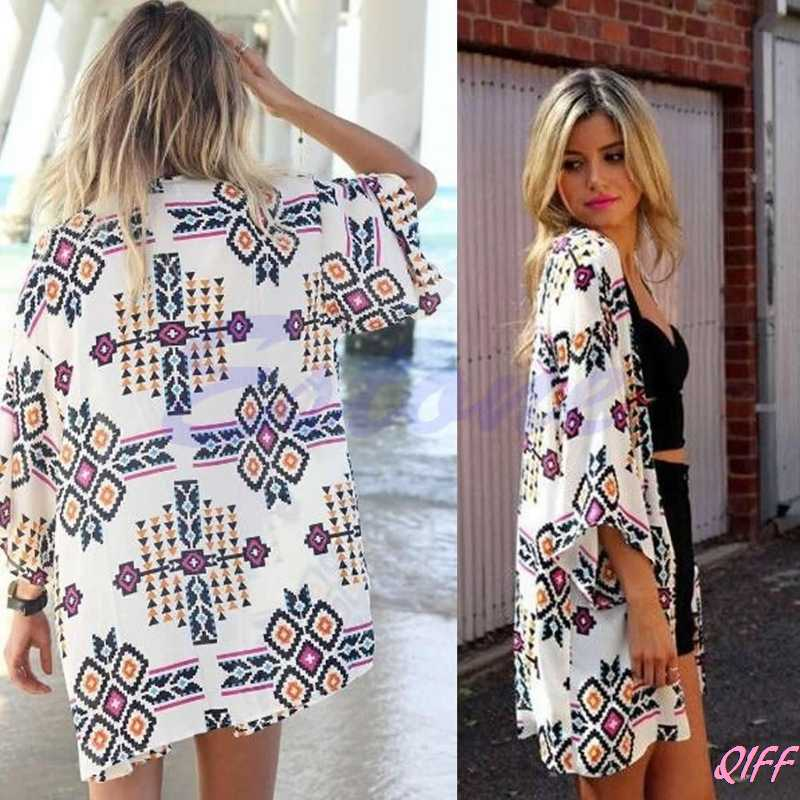 Drop&Wholesale Sexy Women Chiffon Geometry Loose Shawl Kimono Cardigan Boho Coat Jacket Blouse APR28