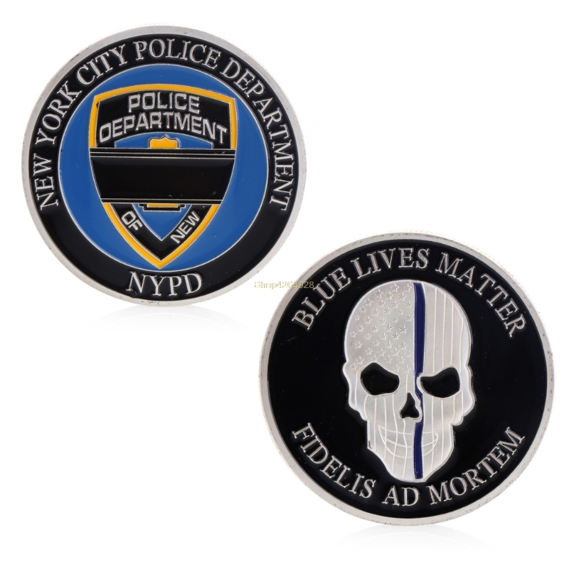 2018 Meaningful Commemorative Coin Collection Art Plating New York Police Blue Life Matter Skull