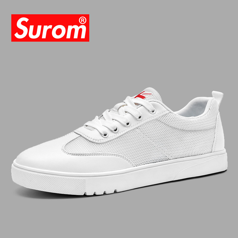 SUROM Summer New Men s Casual Shoes Mesh Breathable Wear Resistant Shoes Hollow Lace up Flat