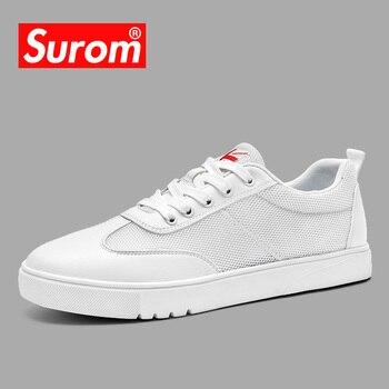 24ee38ec4b97a SUROM Yaz Yeni gündelik erkek ayakkabısı Örgü Nefes Aşınmaya Dayanıklı  Ayakkabı Hollow Lace up Düz Sneakers Erkekler Için Krasovki 2018 Sıcak