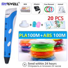 High-quality 3D Pen1.75mm ABS Filament Smart 3D pencil drawing pen + Free filament + adapter Creative gift Designed for kids