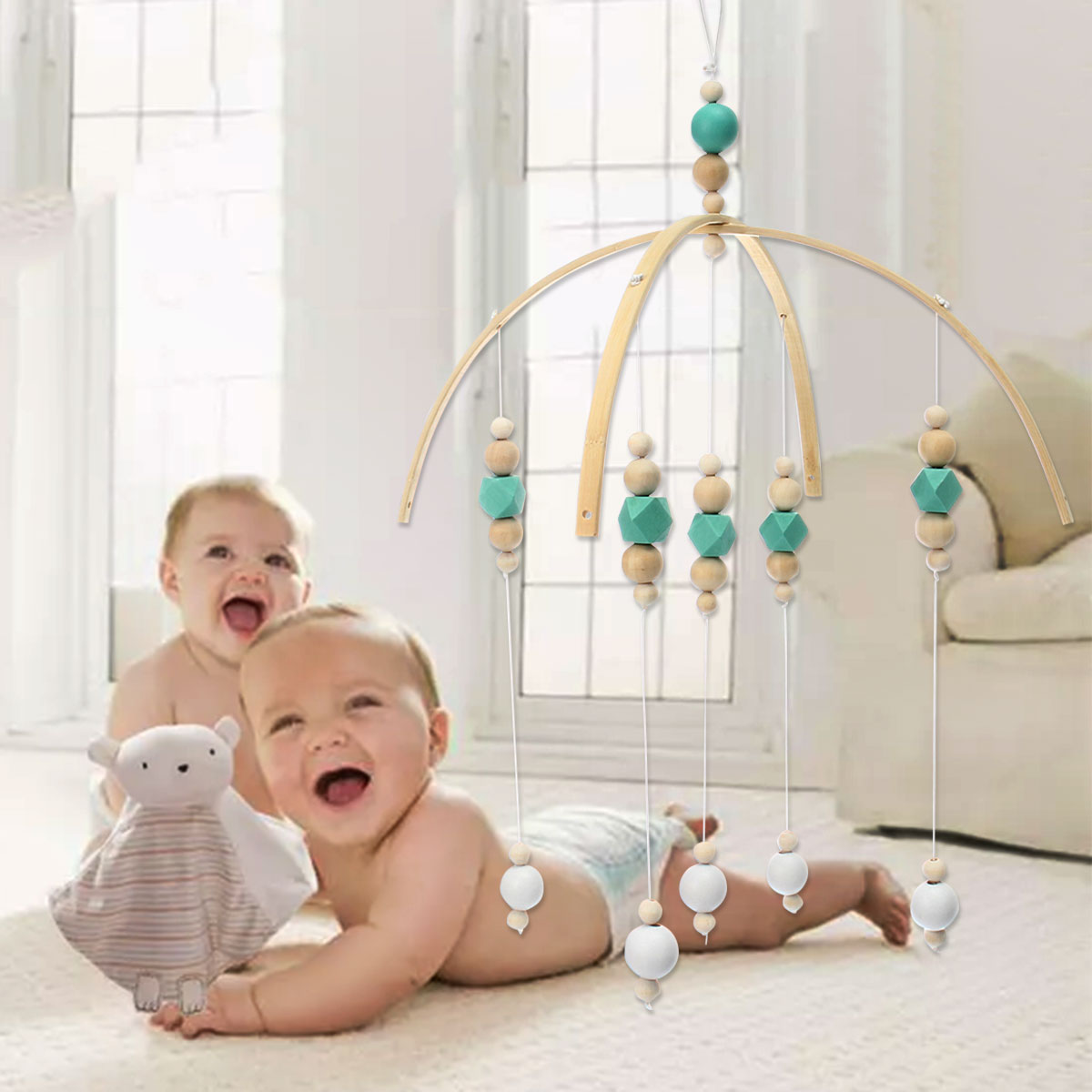 Wooden Baby Rattles Baby Crib Mobile Bed Bell Toy Hanging DIY Rotary Holder Arm Bracket Baby Room Decorative Wood Bead Gift