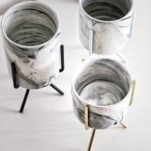 Скандинавском стиле керамический цветочный Мраморный горшок Железный Стеллаж Держатель для суккулента горшок для садового растения Цветочный горшок ваза набор домашний стол Декор