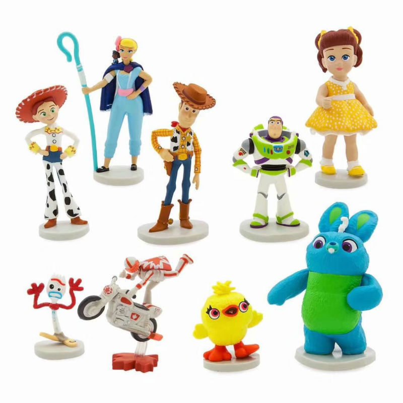 9pcs/set Movie Toy Story 4 Cartoon Toy Action Figure Woody Buzz Lightyear Jessie Forky Doll Model Baby Boy Toys Christmas Gift