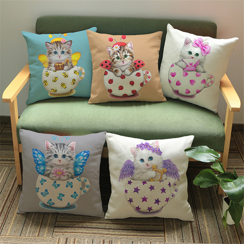 Lovely Cat Printing Cushion Cover Linen Cotton Throw Pillow Cover Car Sofa Decorative Pillowcase for Sofa Car Home Bedroom