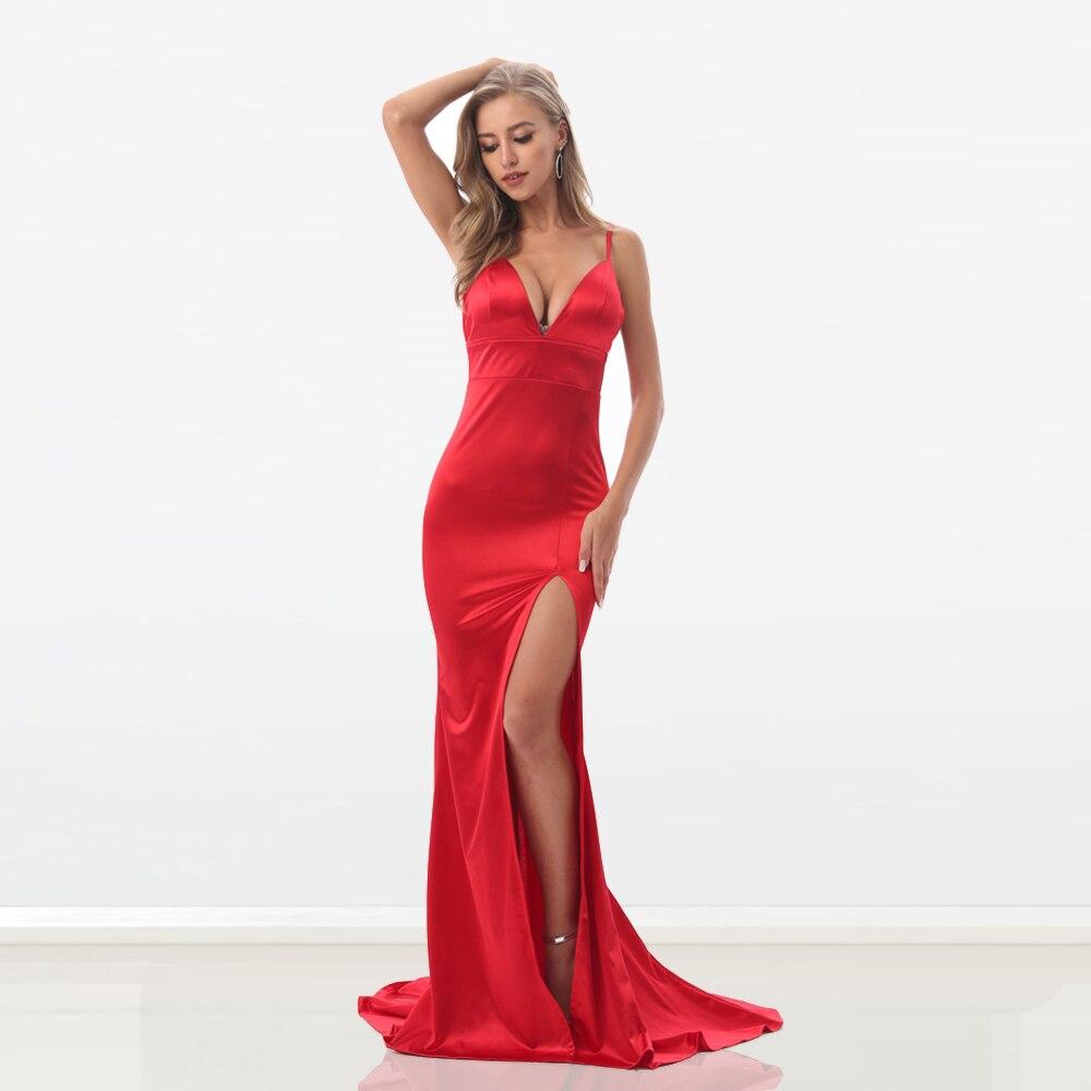 Red Sexy Party Mermaid Dress Backless Split Front Bodycon Maxi Dress V Neck Spaghetti Straps Sexy