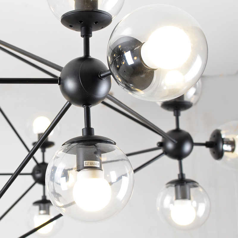 Loft Minimalista Lustres O Pé de Feijão LEVOU Lâmpadas Retro Arte Decoração Luzes E27 Industrial Lustre De Vidro Para Restaurante
