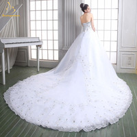 Luxury Fashionable Appliques Sleeveless Lace Wedding Dresses 2018 Crystals Cathedral Train Bridal Gowns Vestidos De Noiva W26
