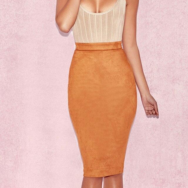 ih Women High Waist Suede Bodycon Midi Skirts Faux Leather Zipper Pencil Skirt Office Lady Elegant Wear 2019 Spring New Fashion 2