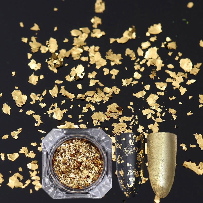 Oro Plata Nail Glitter Lentejuelas Irregular Nail Flakies Paillette - Arte de uñas