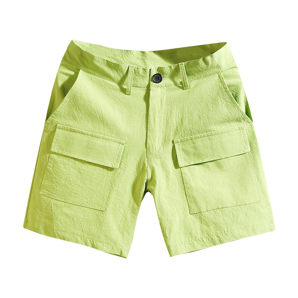 Men's Summer Fashion Pure Color Multi-pocket Overalls Safari Style Straight Button Fly Comfort Beach Green Short Pants Z30617