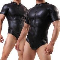 Sexy Plus Size Lingerie Men Sportwear Leather Jumpsuit Zipper Sexy Lingerie Men Catsuit Latex Bodysuit Sexy Teddy Lingerie