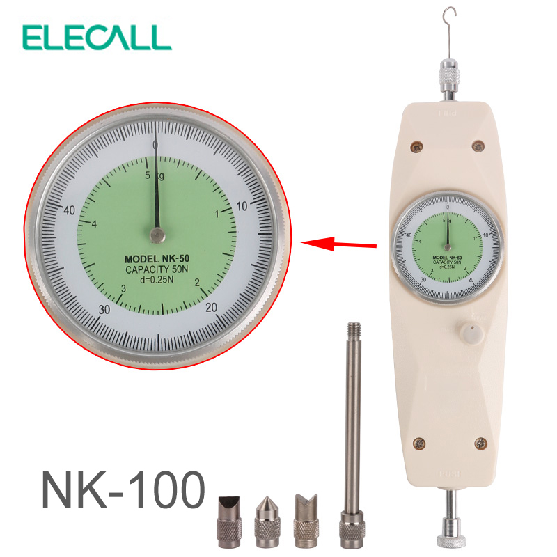 ELECALL NK-100 Analog Dynamometer Force Measuring Instruments Thrust Tester Analog Push Pull Force Gauge Tester Meter nlb 300 analog push and pull force guage meter tester