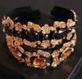 Cabelo hoop headwear hairbands flor barroco de cristal grampo de cabelo cabeça de metal Vintage hairdband