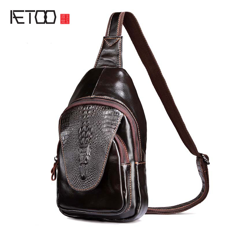 AETOO New leather first layer of leather men's chest bag leisure crocodile pattern chest bag male bag Messenger bag aetoo first layer of leather pockets of men bag leisure leather chest bag pockets