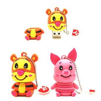 USB 2.0 Flash Drive 64GB Cartoon Super Cute Tiger/Pig Pen Drive 32GB Pendrive 16GB 8GB 4GB New Cle USB Memory Stick