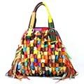 Sheepskin multicolor splicing Women's Shoulder bag large Genuine leather black Women tassel Handbag messenger bags Free shipping