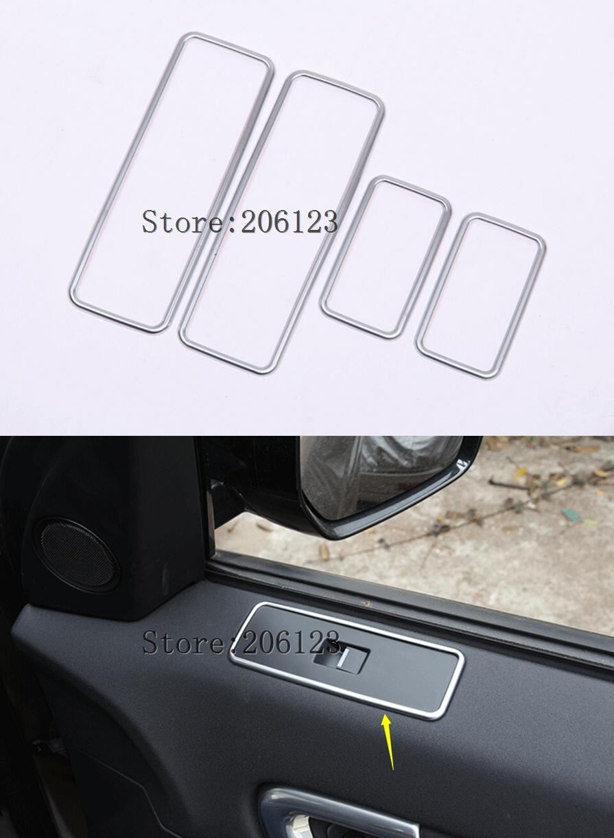 4Pcs Car Interior Window Lift Button Switch Panel Frame Cover Trim Sticker Fit For Land Rover Discovery Sport 2015-2017