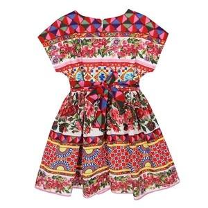 Image 4 - W.L.MONSOON Princess Girls Dress with Sashes 2018 Brand Children Summer Dress Flower Vestidos Kids Dresses for Girls Clothes