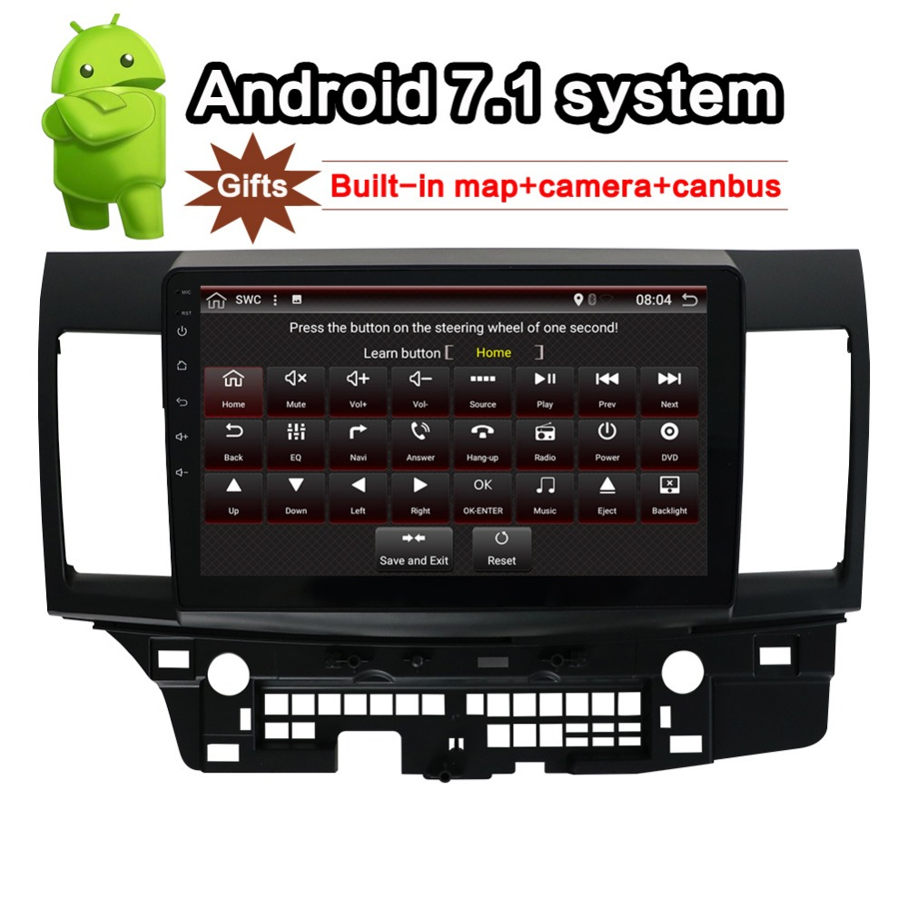 for MITSUBISHI LANCER Android 7 1 Car Radio 10 1 inch 2din GPS navi with rear