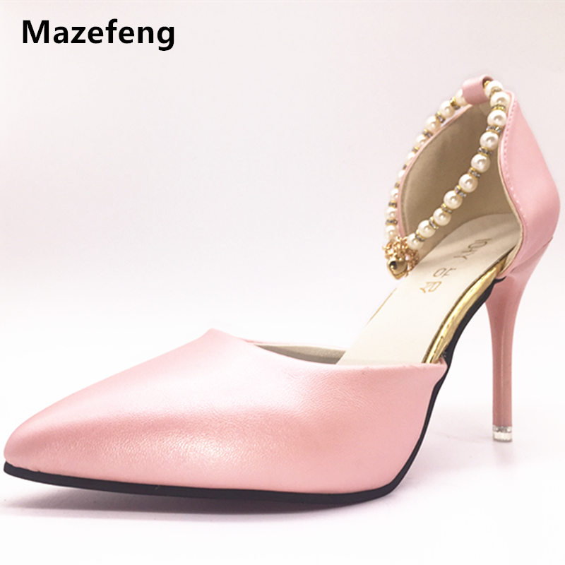 Rome Style New Female Single Shoes Women High-heeled shoes Solid High quality simple Pearl Pointed Toe Mature Ladies Pumps shoes 2017 new summer women flock party pumps high heeled shoes thin heel fashion pointed toe high quality mature low uppers yc268