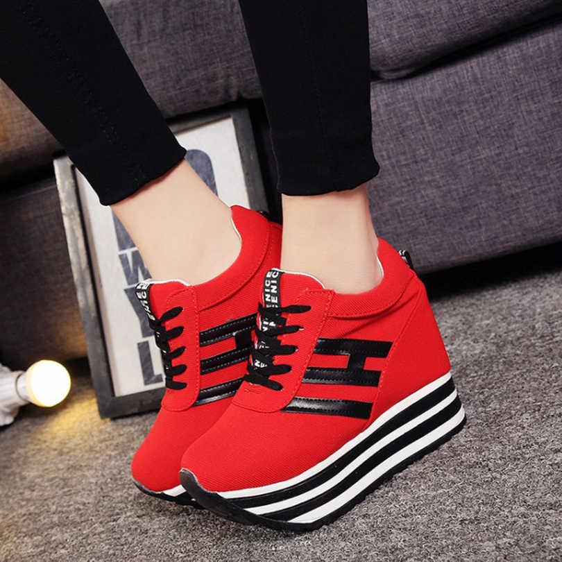 BANGJIAO Vendas Quentes Nova Primavera Outono Saltos Plataforma Cunha Oculta calçados Casuais das Mulheres Elevador-sapatos de salto alto 9 CM sapatos para As Mulheres