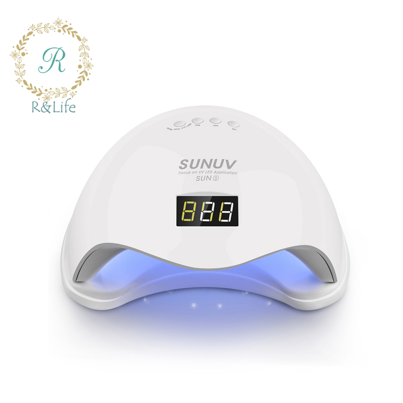 SUN 48W SUN5 UVLED Sensor Double White UV Light LED Lamp Nail Dryer Fast Drying For Curing Nail Gel Polish With Display Time