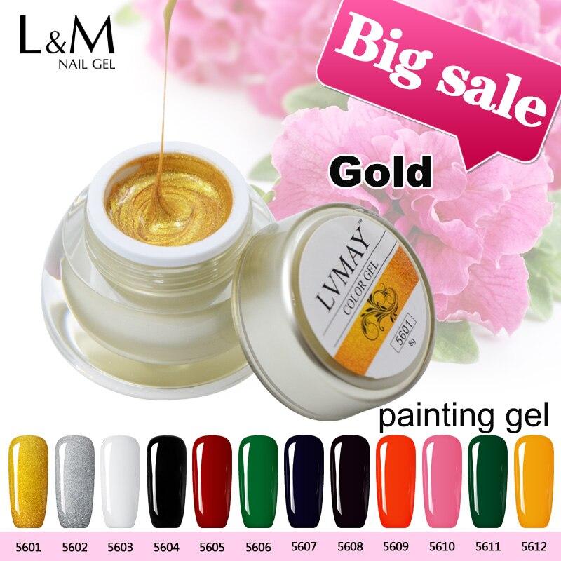 3 sklenice Lvmay Značky UV barvy vytvrzující akrylové barvy Tlustý gelový kit Nail art dekorace Glitter Color Gold Sliver Black White Red