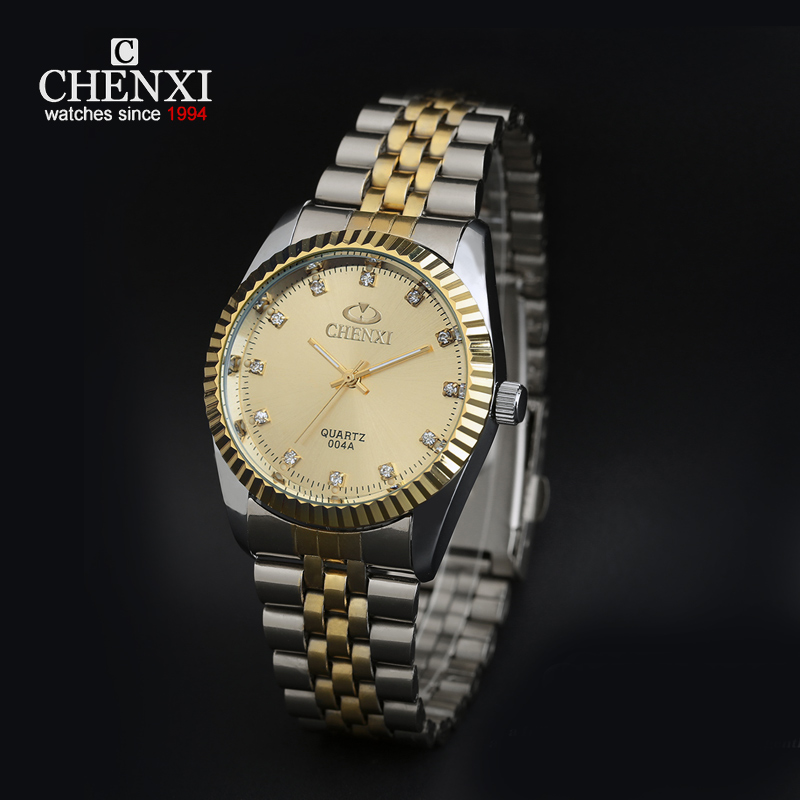 CHENXI Clock Gold Men Quartz Watch Stainless Steel Lover's Rhinestone WristWatch Rose Gold diamonds Men Women Watch agentx brand auto day display rose gold stainless steel case tag heuerwatch wristwatch men business quartz men watch agx042