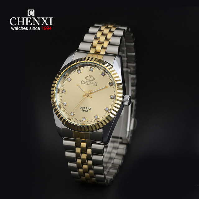 CHENXI Clock Gold Men Quartz Watch Stainless Steel Lover's Rhinestone WristWatch