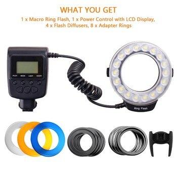 Travor 18pcs Macro LED Ring Flash Light RF-600D For Canon Nikon Panasonic Pentax Olympus DSLR Camera 2