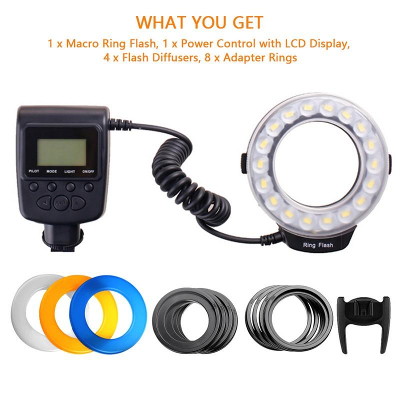 Travor 18 pcs Macro LED Ring Flash Light For Canon Nikon Panasonic Pentax Olympus DSLR Camera 2