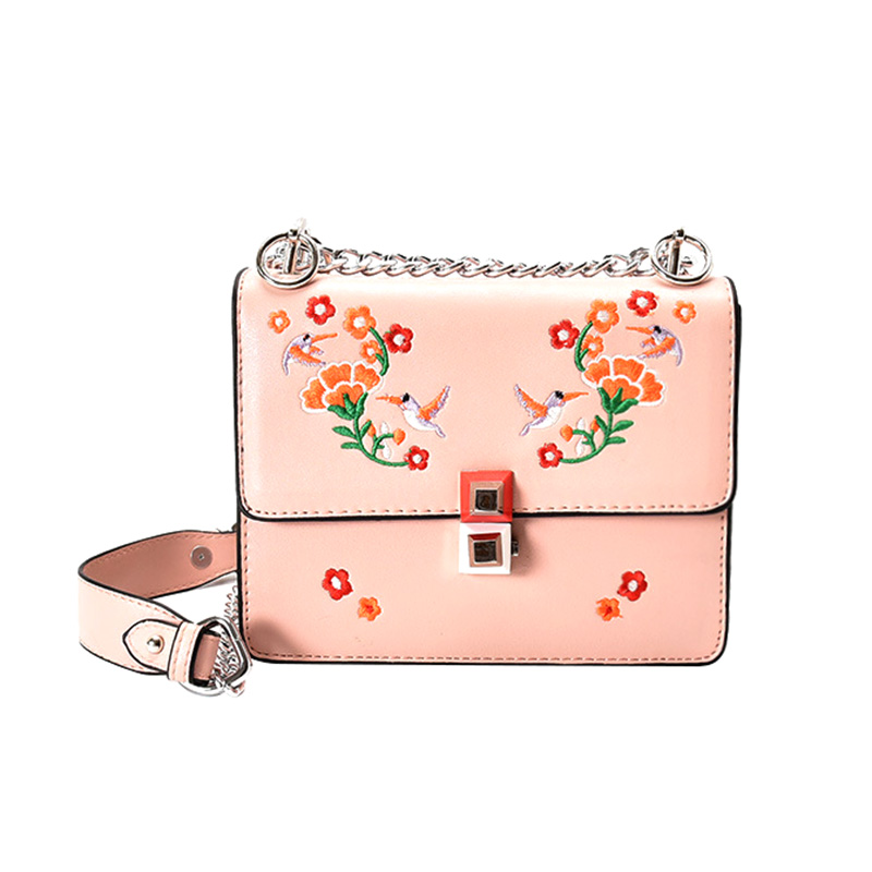 Fashion Women Messenger Bags PU Leather Flowers MINI Zipper&Hasp Purse Chains Strap Shoulder Small Flap Crossbody Bags Feminina