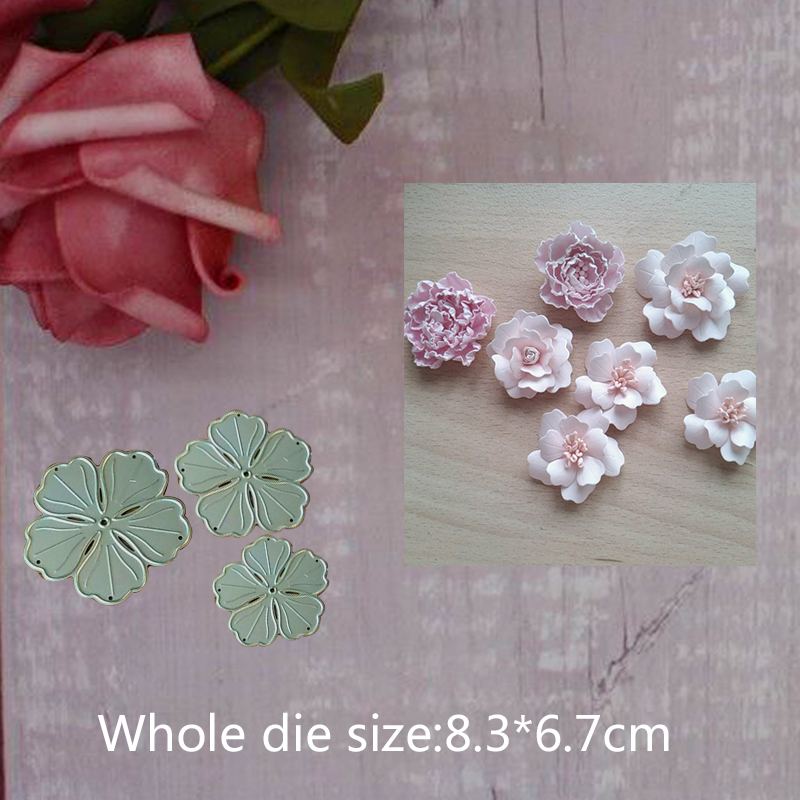 3 flower decoration Metal Steel Cutting Embossing Dies For Scrapbooking paper craft home Craft 8.3*6.7 cm