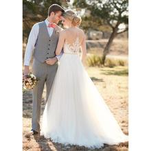 White Ivory Tulle A Line Wedding Dress Sheer Scoop Lace Top Illusion Back Casual Beach Bridal Gown