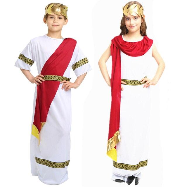 5302ff67c273 Kids Boy Girl Christmas Roman Clothes Prince Princess Ancient Roman  Clothing Halloween Arab Cosplay Costumes for Children Child