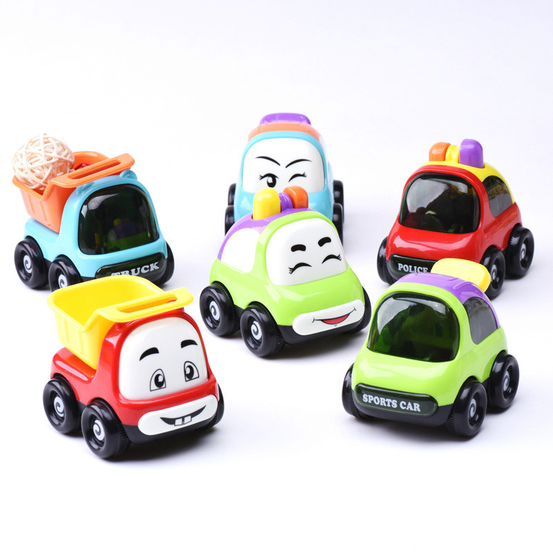 1pcs New Wheels Mini kid Toys Cars Juguetes Candy ABS Cartoon Boy Dump Truck Kids Toys For Children Gift train Baby crawling