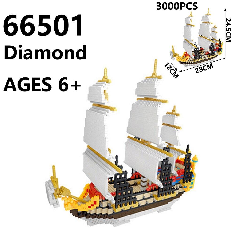 LOZ Amusement Park 1717 Pirate Ship 3D Model DIY Small Mini Blocks Building Toy