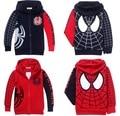 Venta al por menor de Spiderman abrigos para niños Ropa nueva Primavera Otoño Niños muchachos de la Capa con capucha chaquetas Niños de la historieta del bebé prendas de vestir exteriores