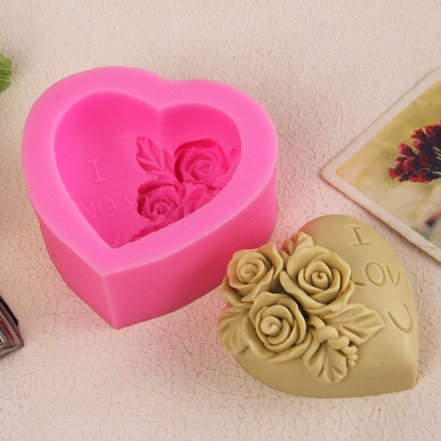 I Love U Rose Flower Silicone Moule Fondant Mold Cake Molds Decorating Supplies Valentine Lover DIY Kalp E5M1