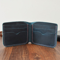Handmade Leather Wallet Crazy Horse Slim Small Male Purse High Quality Genuine Leather Mens Wallets Luxury Money Case Portomonee