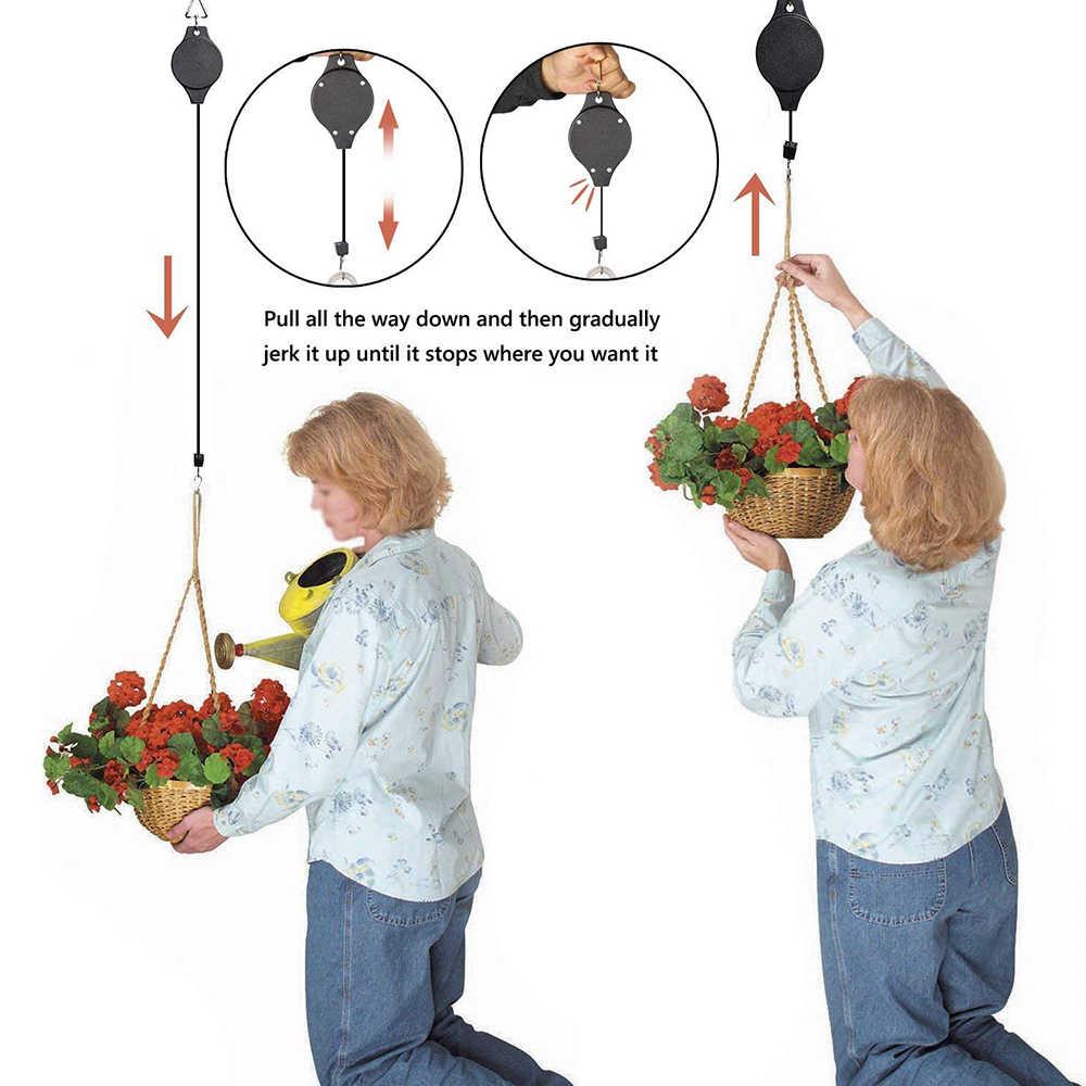 4 個格納式プーリープラントハンガーポータブルガーデン用品蘭の花ポットリフティングフック伸縮鳥ケージアクセサリー