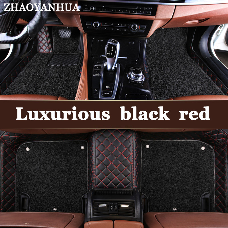 ZHAOYANHUA Custom fit car floor mats for Ford Fiesta Mk7 Edge Escape Kuga Fusion Mondeo Ecosport Explorer Focus 5D rugs liners custom fit car floor mats for ford edge escape kuga fusion mondeo ecosport explorer fiesta car styling carpet liner ry31