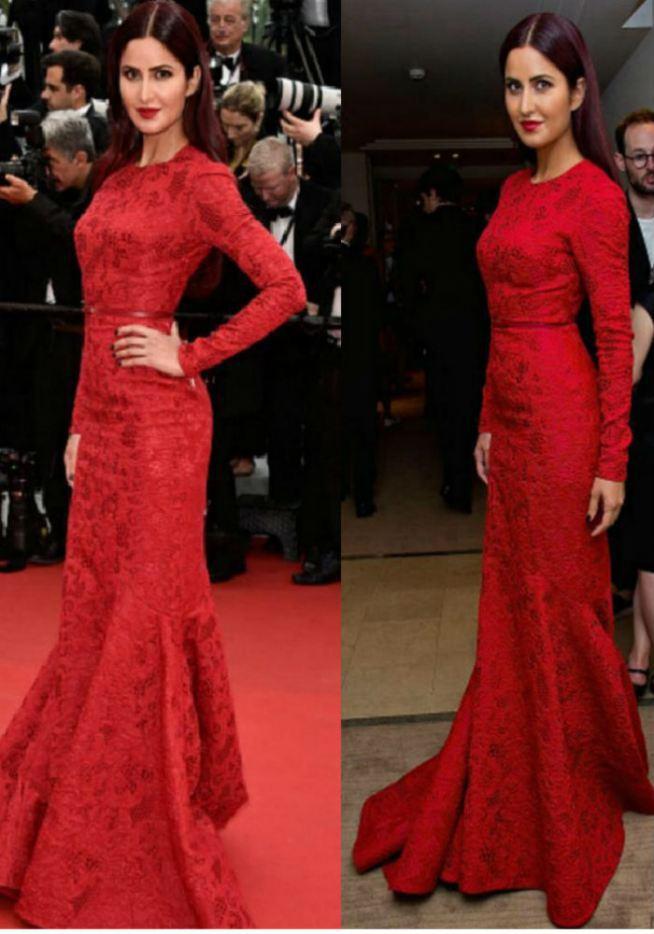 Aliexpress.com : Buy Sexy Katrina Kaif Red Long Sleeve Mermaid ...