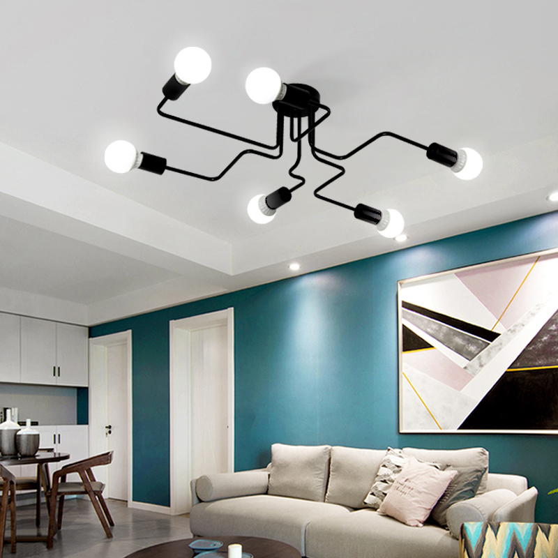 Nordic  simple modern living room iron ceiling light loft industrial style individual restaurant bar clothing store