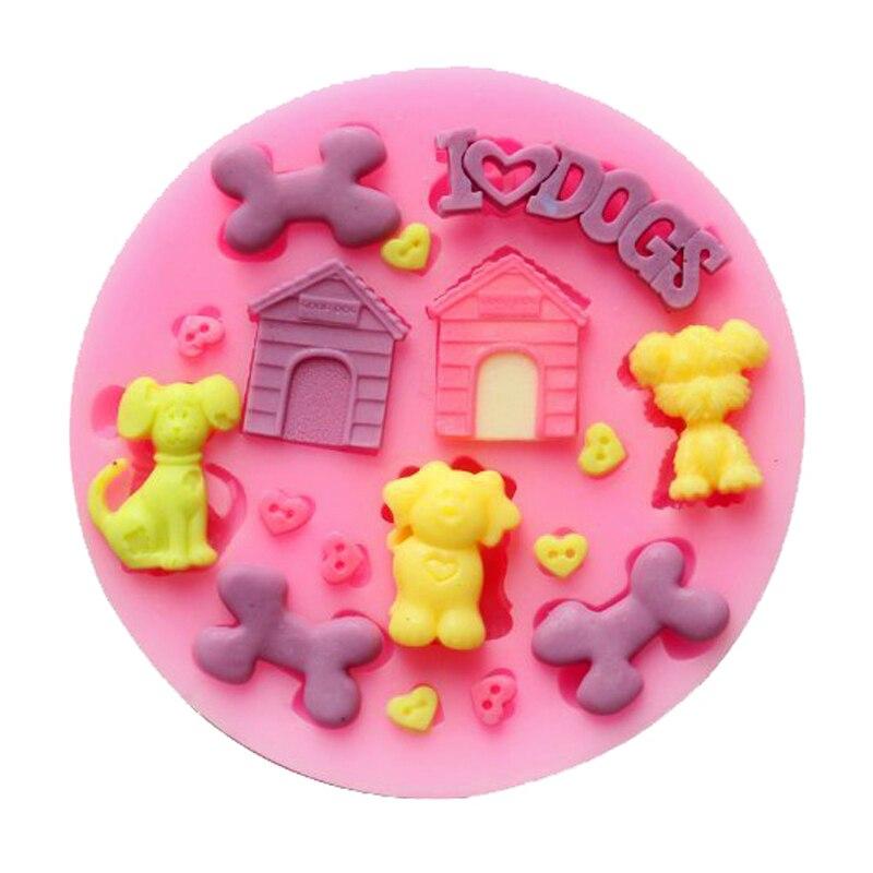 뼈 집 개 요리 도구 크리스마스 웨딩 장식 실리콘 금형 퐁당 설탕 활 공예 금형 DIY 케이크 장식