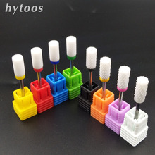 HYTOOS Barrel Ceramic Nail Drill Bit Rotary Burr Milling Cutter Bits For Manicure Pedicure Tools Electric Nail Drill Accessories