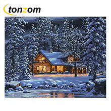 RIHE Snowing Cottage Diy Painting By Numbers Night Snow With Light Oil On Canvas Cuadros Decoracion Acrylic Wall